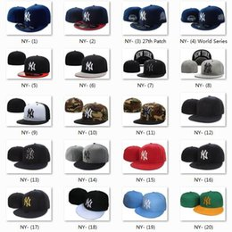 Wholesale Ny Flat Brim Caps - 20 Top Quality Discount Yankee Fitted Caps Cheap Baseball Cap Embroidered Team NY Letter Size Flat Brim Hat Hiphop Baseball Cap Full Closed