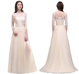 Wholesale Designer Dresses T Length - Champagne Elegant 3 4 Long Sleeves Prom Dresses Sheer Neck Lace Appliqued High Slit Evening Gowns Tulle Chiffon Party Wear Cheap CPS496