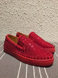 Wholesale Roller Clay - Luxury Brand Wedding Dress Men's Strass Spike &Strass Slip On Loafers Casual Walking Women Red Bottom Roller-Boat Women Flat