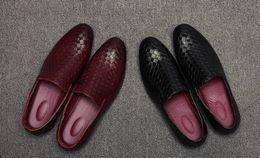 Wholesale Black Velvet Wedge Shoes - Handmade Loafers Men Velvet Shoes Slippers Smoking Slip-on Shoes Tiger Buckle Party Wedding Weaving Dress Mens Flats RedBottom