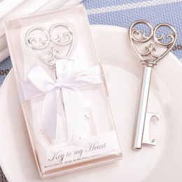 Wholesale Packaging Bottle Suppliers - 100pcs lot Key Bottle Opener Gift Silver Wedding Bottle Beer Opener Key Wedding Favors Party Supplier With Box Package