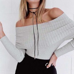 Wholesale Green Pull - Autumn Spring Off shoulder elastic winter sweater women Sexy lapel pullover bodycon pull femme basic jumpers knitwear crop top white