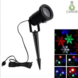 landscape spotlights Coupons - 4 color Snowflake Wall Decoration Laser light 4w waterproof 100-240v auto-Moving Spotlight Indoor LED Landscape Projector Light