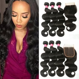 Wholesale Hot Human Body - Hot Selling!!! Body wave Brazilian Human Hair Weaves 7A Grade 100% Unprocessed Human Unprocessed Brazilian Body Wave 3bundles with 1 closure