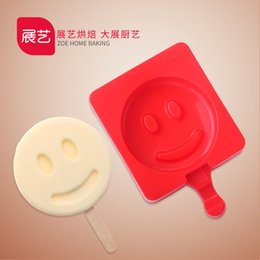 Wholesale Silicone Molds Faces - Cartoon Smiling Face DIY Silicone Ice Cream Mold Popsicle Molds Popsicle Maker Holder Frozen Ice Mould with Popsicle Sticks Kitchen Tools