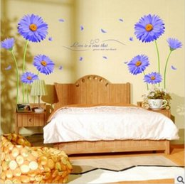 Wholesale Purple Wall Stickers - Aster Novi-belgii Wall Stickers Purple Chrysanthemum Single-piece Package Animal PVC Kids Living Wall Stickers for Home Decoration
