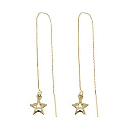 Wholesale Dangling Chain - Latest Punk Style Jewelry Gold Plated Thin Long Chain with Star Pendant Drop Earrings for Women