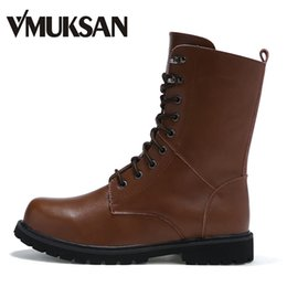 Wholesale Man Riding Boots - Wholesale- VMUKSAN Brand New Mens Motorcycle Boots Big Size 2016 Cowboy Riding Boots Leather Ankle Winter Snow Shoes For Men Shoes
