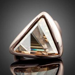Wholesale Swarovski Pave - Wholesale Rose Gold Plated Swarovski Elements Gold Color Triangle Austrian Crystal Ring Women Jewlery TR0015