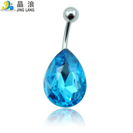Wholesale Tear Drop Buttons - Promotion! DIY New Arrival Best Selling High Quality Fashion Blue Rhinestone Tear Drop Navel Piecing Rings For Women Body Jewelry