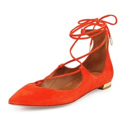 Wholesale Dance Shoes Square Toe - Zandina Womens Ladies Handmade Fashion Cross Lace Up Pointed Toe Flats Shoes Bullets Party Dance Evening Shoes Orange