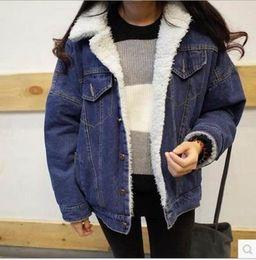 Wholesale En V - Wholesale- Cashmere Thick Winter Denim Jean Jacket Women Coat Chaqueta Womens Jaqueta Jeans Bomber Abrigos Mujer Veste En Jean Coats