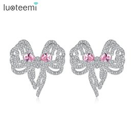 Wholesale Cute Pink Stud Earrings - Charming Cute Bowknot Design Stud Earrings White Gold Plated Pink Teardrop Cut Cubic Zirconia Birthday Gift for Women LUOTEEMI