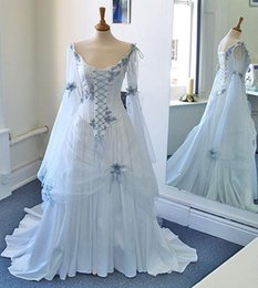 Wholesale Chiffon Vintage Bow - Medieval Wedding Dresses 2016 Long Sleeves Vintage White Chiffon Vintage Bridal Gowns Princess Real Photos Lace up Victorian Bow Bride Gowns