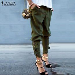 Wholesale Loose Trousers Women - Fashion Harem Pants 2017 Women Trousers Casual Loose Pockets Elastic Waist Pants Leisure Army Green Pants Plus Size M-XL