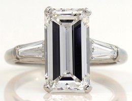 Wholesale Emerald Cut Diamond Yellow Gold - GIA GORGEOUS PLATINUM SOLITAIRE RING WITH 3.82 CTW EMERALD CUT DIAMONDS! #P30