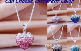 Wholesale Clay Pave Beads - new fashion hotsale mircro pave disco Mixed Colors beads clay heart silver plated Shamballal Crystal necklace gradual change pendant x82