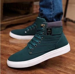 Wholesale Sewing Letters - Wholesale- SexeMara Brand 2016 Autumn Winter Botas Hombre Men Ankle Boots Nubuck Buckle High Top Boots Letter Printing Boots Zapatos Hombre