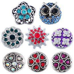 Wholesale Windmill Bracelet - 8 Styles Handmade Colorful Rhinestone Snap Button Charm Owl Windmill Heart Shape Flower Snap Button Bracelet Women For DIY Jewelry N210S