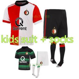 Wholesale Soccer Football Kids - 2017 2018 kids set Feyenoord Soccer Jersey 17 18 kids youth Football jerseys Shirts Kuyt Lex Immers Simon Kramer jersey suit+sock
