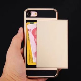 Wholesale Iphone 4s Shockproof - For iPhone X 8 7 Plus 6S 5S SE 4S Wholesale Bulk Luxury Card Pocket Holder Hybrid Shockproof Rugged Tough Armor Protector Case