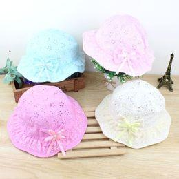 Wholesale Girls Sunhats - 2017 infant summer cotton bow hat fashion kids pring visor sunhats baby children sun hats Caps head accessories color bc17017