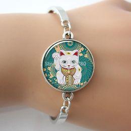 Wholesale Maneki Neko Charms - Wholesale-Maneki Neko Teal art charm Bracelet, Lucky Cat jewelry,Handmade glass Cabochon ,metal bangle bracelets Animal G044