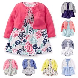 Wholesale Baby Layettes - Wholesale- Baby Girl Clothing Set Cotton Long Sleeve Short Outwear + Flower Rompers Dress Newborn Layette Clothing 2 Pieces Set For Girls