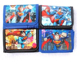 Wholesale Leather Superman Wallet - 72 PCS Superman cartoon folding boy child coin purse wallets bags with zipper Wholesale Free shipping