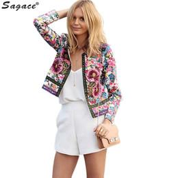 Wholesale Modern Woman Coats - Wholesale- Modern Trendy Women Floral Printed Short Jacket Long Sleeve O Neck Bridal Satin Outerwears New Arrival Autumn Cool Coats Aug3