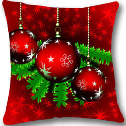 Wholesale Xmas Throw Pillows - Christmas Cushion Cover Red Christmas Decorative Throw Pillow Case Christmas Ball Pillowcase Xmas Decoration Gift 18&Quot ;Two Sides