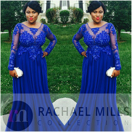 Wholesale Plus Size Formals Empire Dress - 2017 Royal Blue Plus Size Evening Dresses With Long Sleeves Sheer Chiffon Appliques Lace Empire Formal Weddings Guest Prom Party Gowns
