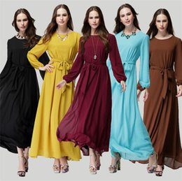 Wholesale Cheap Womens Maxi Summer Dresses - Women Long-sleeved Cheap Dresses Malay Muslim Pakistani National Dress Ethnic Clothes Summer Chiffon Maxi Dresses for Womens