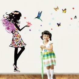 Wholesale Girls Removable Wall Stickers - 50*70cm Flower Fairy Butterfly Girls Wall Stickers DIY Art Decal Removeable Wallpaper Mural Sticker for Kids Room Bedroom Living Room JM8337