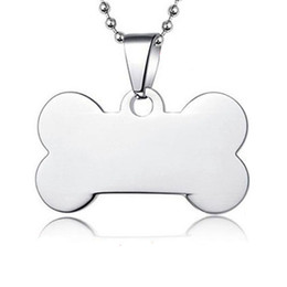Wholesale Id Tags For Dogs - 100pcs lot stainless steel bone PET Dog ID Tags blank pet name tags for large dogs