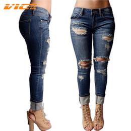 Wholesale Womens Boyfriend Jeans - Wholesale- VICVIK Brand Ripped Jeans for Women Boyfriend Jeans 2016 Female Hole Pants Skinny Jeans with Holes Women Denim Large Size Womens