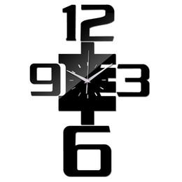 Canada Gros-2016 Quartz Montre Acrylique Miroir Horloge Murale Grandes Horloges Décoratives Moderne Salon Diy Reloj De Pared Horloge Stickers Muraux cheap large decorative wall stickers Offre