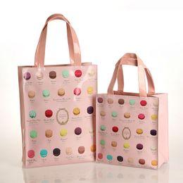 Wholesale Waterproof Tote Bag Pattern - Wholesale-Macarons Pattern Two Sizes Waterproof PVC Shopping Bag Tote Bag Fashion Women's Handbag Shoulder Bag