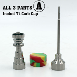 Wholesale Container Glass - Gr2 Titanium Domeless Nail 10 14 18MM For Glass bong with Carb cap oil wax containers Dabber