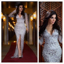 Wholesale Kim Kardashian Black Lace Gown - Kim Kardashian 2016 Sexy Silver Evening Dresses Mermaid Deep V-Neck Long Sleeves Major Beaded Split Arabic African Formal Prom Gown