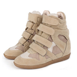 Wholesale ladies green ankle boots - Buckle Wedge Ankle Boots Fashion High Casual Shoes Women Genuine Leather Height Increasing Lady Platform Patchwork Shoe