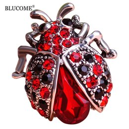 Wholesale Beatles Scarf - Blucome Vintage Red Ladybug Brooches For Woman Kids Suit Hats Scarf Beatles Brooch Clip Pins Insects Jewelry Small Size Corsage