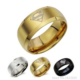 Wholesale Superman Man Steel - Superman ring titanium stainless steel Men Ring Superman Logo Finger Rings 3 Colors Fashion RING