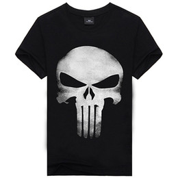 Wholesale Product Sleeve Printing - Wholesale- 2016 New Product The Punisher Movie Skull Logo Black Mens T-Shirts Tee