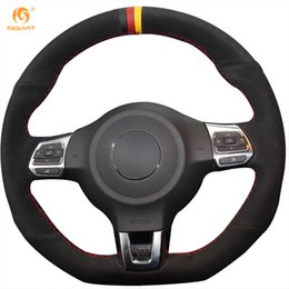 Wholesale vw gti wheels - Mewant Black Suede Black Red Yellow Marker Car Steering Wheel Cover for Volkswagen Golf 6 GTI MK6 VW Polo GTI Scirocco R