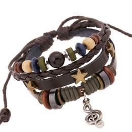 Wholesale music note bracelets - 2017 New Arrival Fashion Jewelry Women Charm Bracelets Vintage Alloy Notes Cowhide Leather Bracelet Blacks Brown 2 Colors