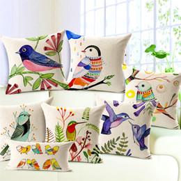 2019 pintando fundas de almohada 1 Unids Algodón Lino Diseño Cuadrado Throw Pillow Case Cojín Decorativo Funda de Almohada Pintado a Mano Flores y Aves rebajas pintando fundas de almohada