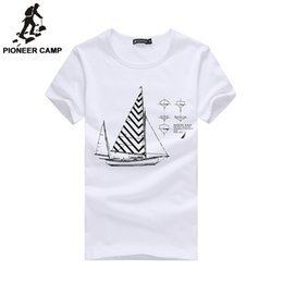 мужские рубашки Скидка Wholesale- Pioneer Camp.2017 Summer New Fashion Mens T-Shirt Shorts100% Cotton Print Loose Fitness T Shirts Brand Mens Clothing 677100