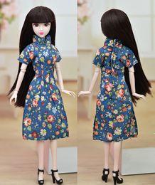 Wholesale Cheongsam Vestido - Unique Doll Accessories Handmade Dress For Barbie Doll Cheongsam Chinese Traditional Dress Vestido Flower Qipao Evening Dresses