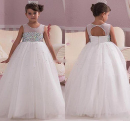 Wholesale open back crystal wedding dress - 2018 Princess White Wedding Flower Girl Dresses Empire Waist Crystals Open Back 2017 Custom Made Cheap Baby Communion Girls Pageant Dress